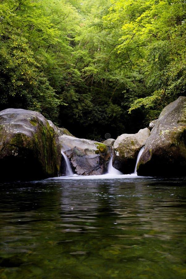Nedgångar för hål för Great Smoky Mountains nationalpark midnatta arkivbild