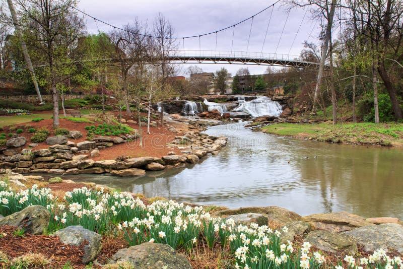 Nedgångar parkerar på Reedy Greenville South Carolina arkivfoto