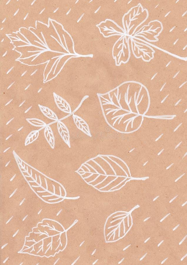 Nedgångbladtrycket på vitbokbild av det abstrakta dra handgjorda trädet för vykortet för Kraft papper lämnar naturen vita linjer stock illustrationer