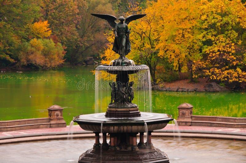 Nedgången färgar på den Bethesda springbrunnen i Central Park. fotografering för bildbyråer