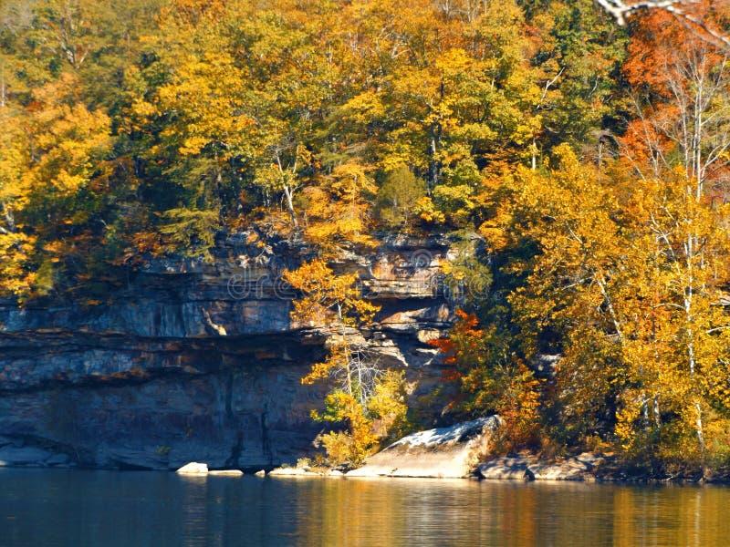 Nedgångfärger längs den nya floden, West Virginia arkivbild