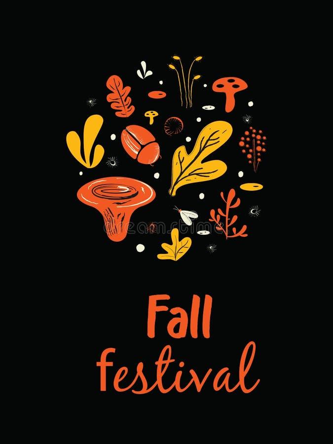 Nedgångfestivalaffisch Affisch baner, kortmall Illustration av champinjoner, örter och fel vektor illustrationer