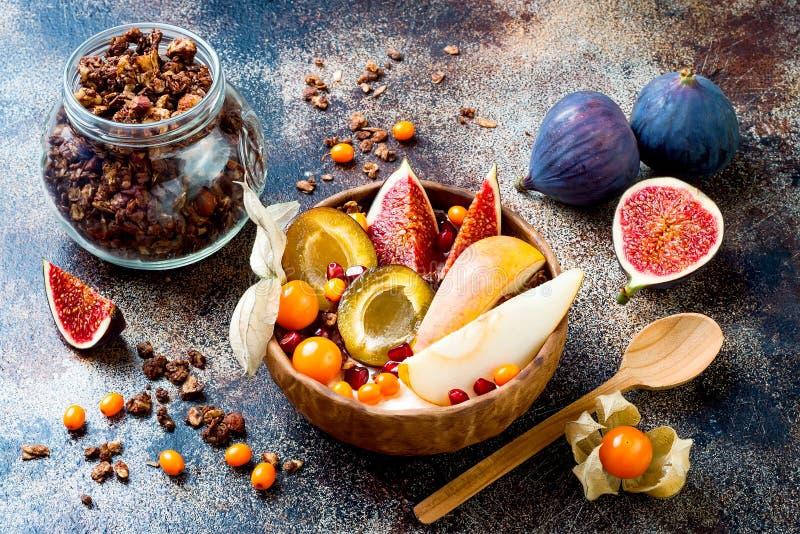Nedgångfrukostbunke med chokladgranola, kokosnötyoghurt och frukter och bär för höst säsongsbetonade Sund vegetarisk frukost arkivfoto