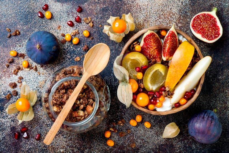 Nedgångfrukostbunke med chokladgranola, kokosnötyoghurt och frukter och bär för höst säsongsbetonade Sund vegetarisk frukost royaltyfria foton