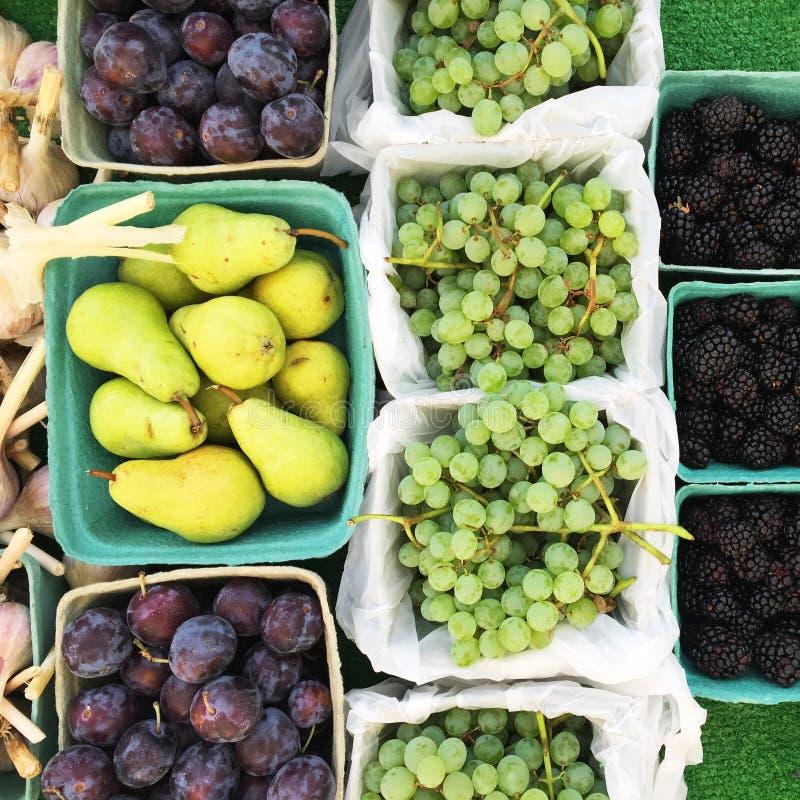 Nedgångfrukt i korgar på bondes marknadstabellen, Okanagan, Kanada royaltyfri fotografi