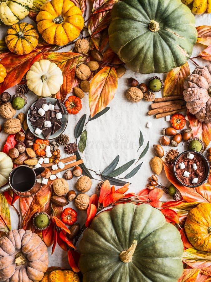 Nedgångmatbakgrund med variation av färgrika pumpor, choklad, kryddor, marshmallowen, muttrar och höstsidor, bästa sikt H?st arkivbild