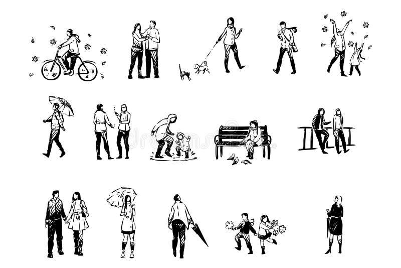 Nedgångsäsongen, män och kvinnor med paraplyer utanför, regnigt väder, vänner och par på utomhus- går uppsättningen stock illustrationer