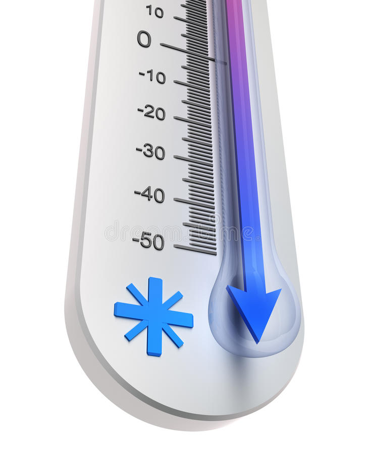 nedgångtemperaturtermometer stock illustrationer