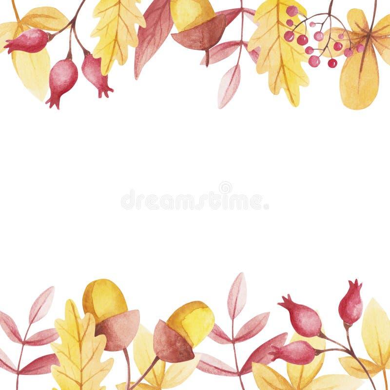 NedgångVibes Vattenfärggräns med kopieringsutrymme av rosa höfter och bergaskaen stock illustrationer