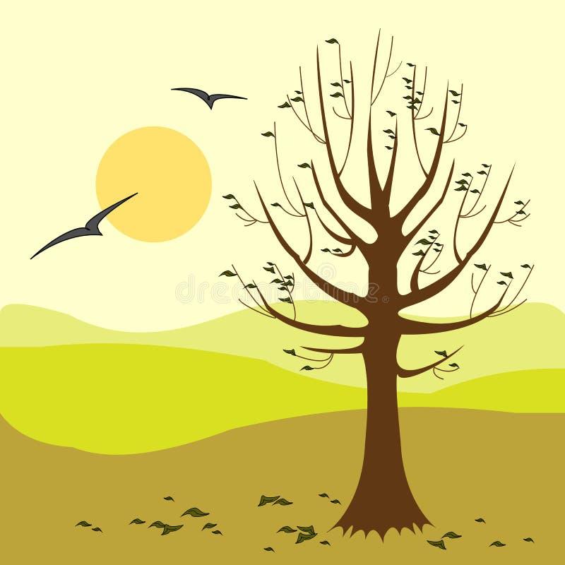 Nedg?ngtid Time för reflexion och meditation H?st ocks? vektor f?r coreldrawillustration vektor illustrationer