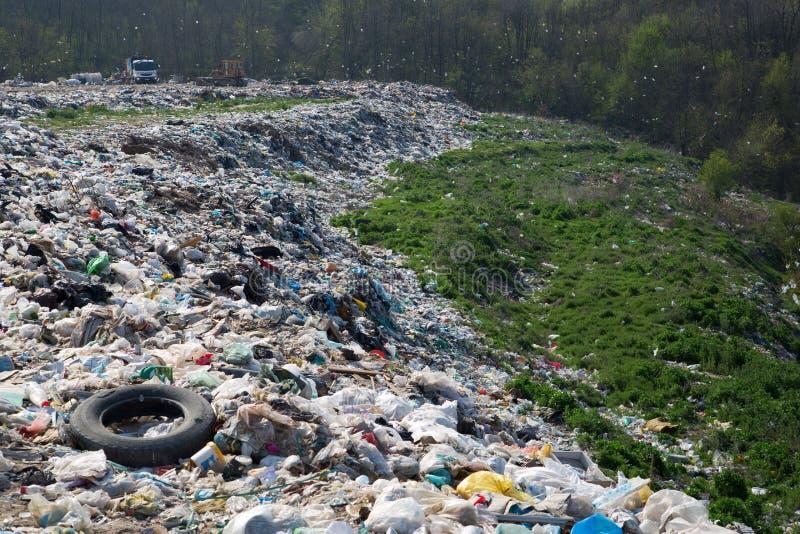 Nedgrävning av sopor-förstörelse av naturen arkivbilder