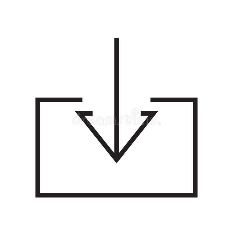 Nedladda det symbolsvektortecknet och symbolet som isoleras på vit backgroun royaltyfri illustrationer