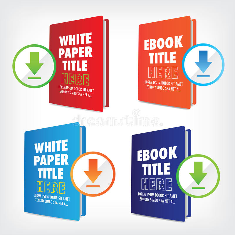 Nedladda det Whitepaper eller Ebook diagrammet stock illustrationer