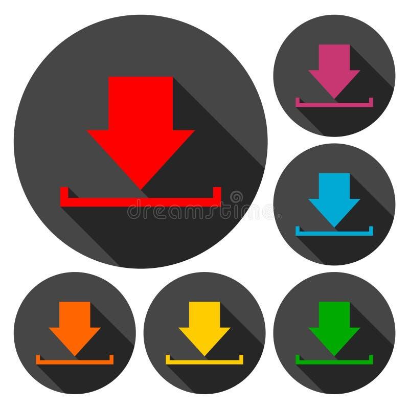 Nedladda symbolen, ladda upp knappen, påfyllningsymboluppsättning med lång skugga royaltyfri illustrationer