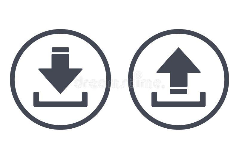 nedladda symbolsuploaden Knapp med pilen uppåt- och neråt den enkla symbolen - vektor royaltyfri illustrationer