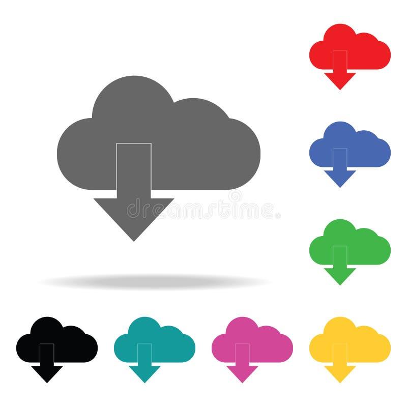 Nedladdning från molnsymbol Beståndsdelar i mång- kulöra symboler för mobila begrepps- och rengöringsdukapps Symboler för website royaltyfri illustrationer