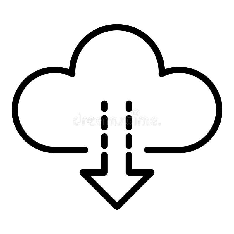 Nedladdning från molnsymbolen, översiktsstil stock illustrationer