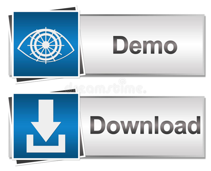 Nedladdning och Demo Buttons Blue vektor illustrationer