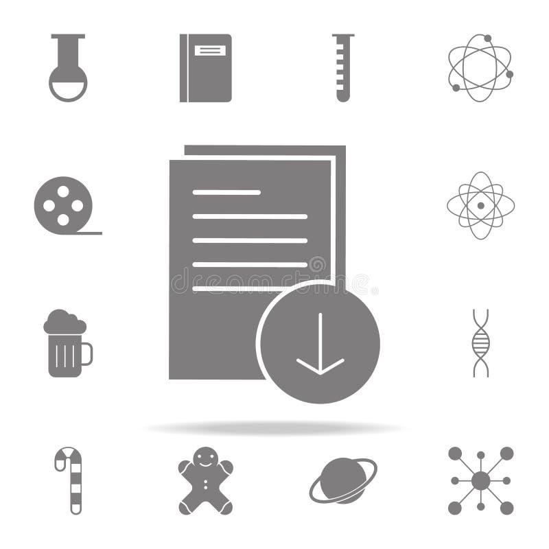 Nedladdningdokumentsymbol universell uppsättning för rengöringsduksymboler för rengöringsduk och mobil stock illustrationer