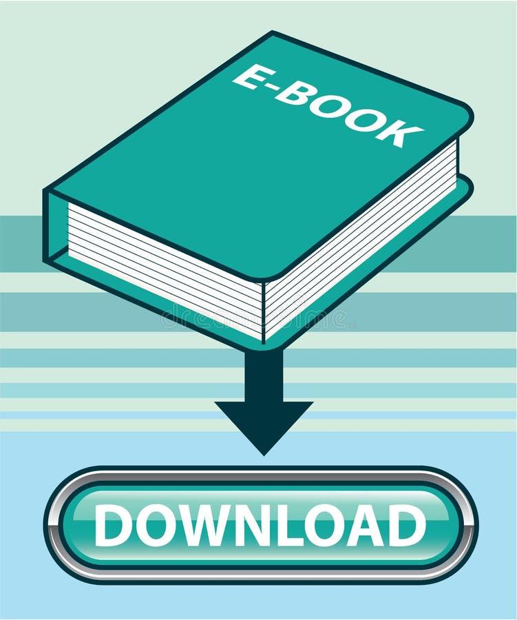 NedladdningEbook knapp med boksymbolsvektorn stock illustrationer
