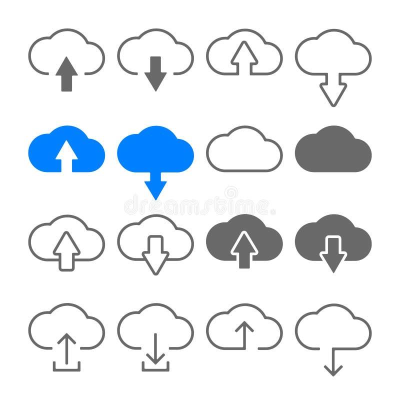 Nedladdningen laddar upp molnsymbolsuppsättningen stock illustrationer