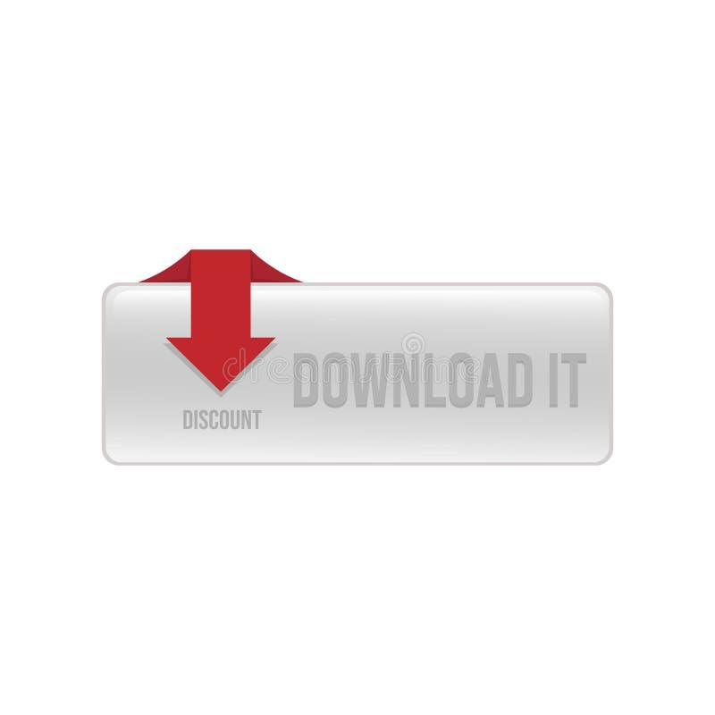 Nedladdningknappvektor för rengöringsduk knapp 3D för rengöringsdukmappnedladdning royaltyfri illustrationer