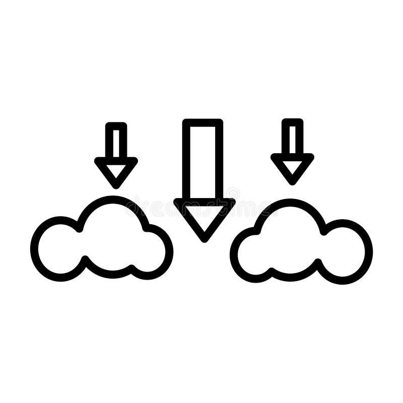 Nedladdningmapp från tecken och symbol för molnsymbolsvektor som isoleras på vit bakgrund, nedladdningmapp från molnlogobegrepp stock illustrationer