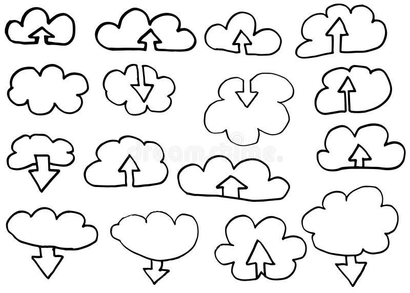 Nedladdningmoln klottrar symboler, den drog vektorhanden royaltyfri illustrationer