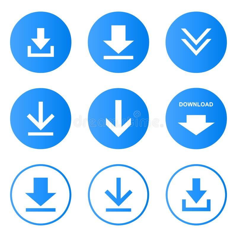 Nedladdningsymboler ställde in knappvektorn vektor illustrationer