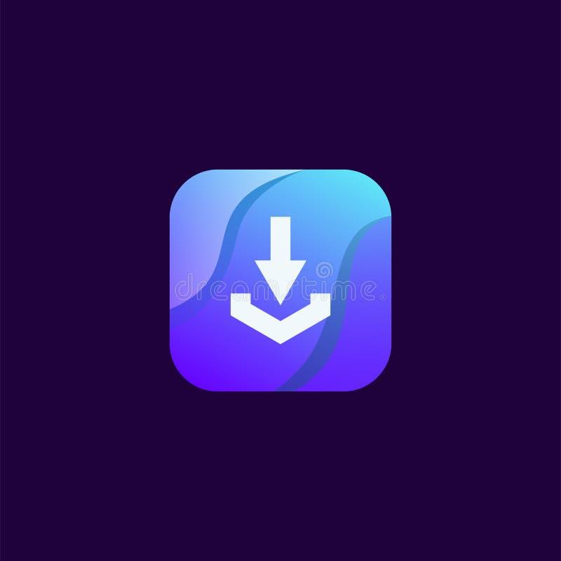 Nedladdningsymbolsdesign som är klar att använda royaltyfri illustrationer