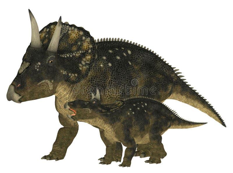 Nedoceratops adulto e giovane royalty illustrazione gratis