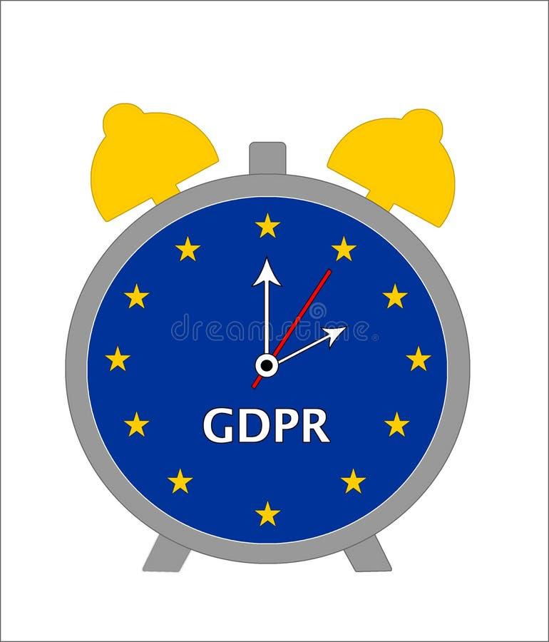 Nedräkning till regleringen GDPR - ringklockaillustration för skydd för allmänna data vektor illustrationer