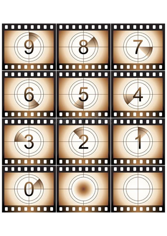 nedräkninggrungefilm vektor illustrationer