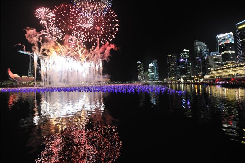 nedräkningmarina singapore för 2010 fjärd fotografering för bildbyråer