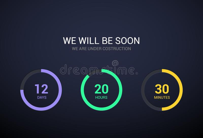 Nedräkningtidmätaredesign för website Klockatidmätaredesign på mörk bakgrund Komma snart modern plan räknare för app royaltyfri illustrationer