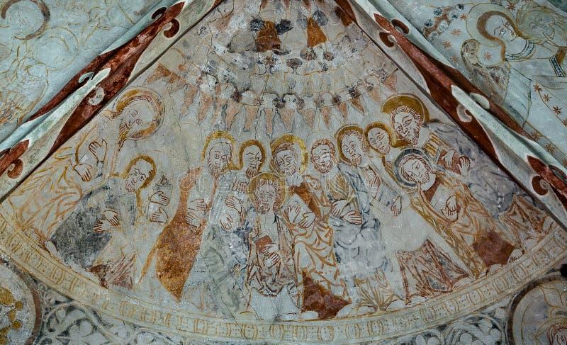 Nedstigning av den heliga anden på apostlarna royaltyfri bild