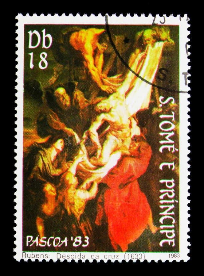 Nedstigning från korset, vid Rubens, påsk - målningserie, cir arkivbild