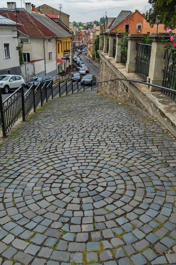Nedstigning på en stadsgata som läggas ut ur tegelplattor med modeller i form av en cirkel som ner går Med trevliga hus och bilar arkivbilder