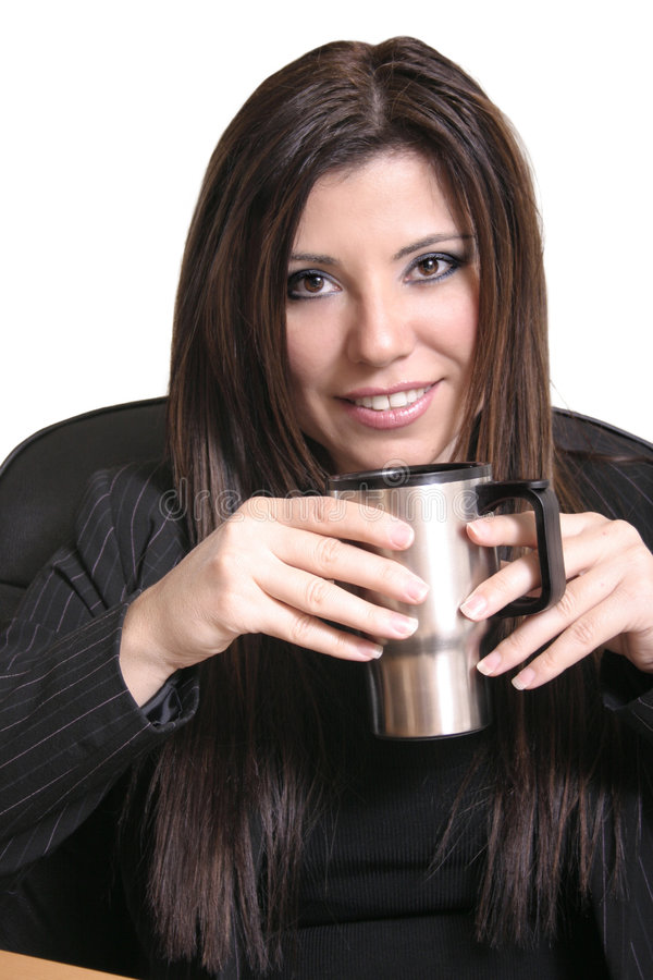 Need Advice. Girl drinking coffee. Examples: career advice, counselling, psychologist, psychiatrist, employee relations, coffee break stock photo