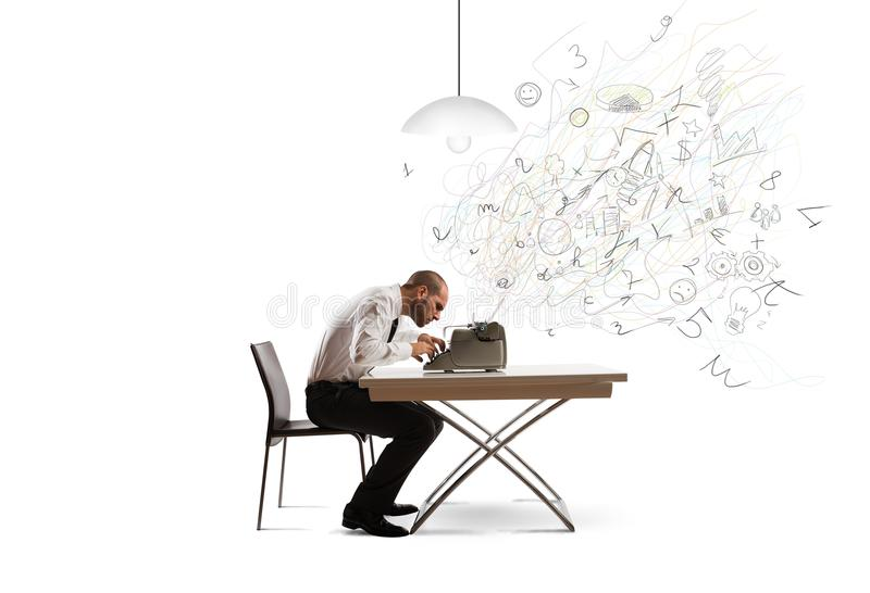 Need innovation. Businessman with typewriter that need innovation royalty free stock photography