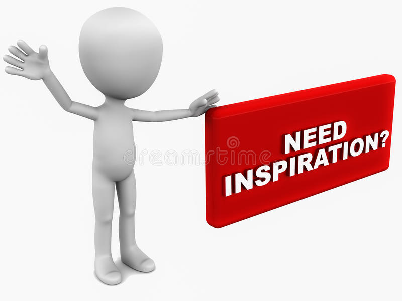 Need inspiration. Little 3d man standing by a red banner asking if you need any inspiration, white background royalty free illustration