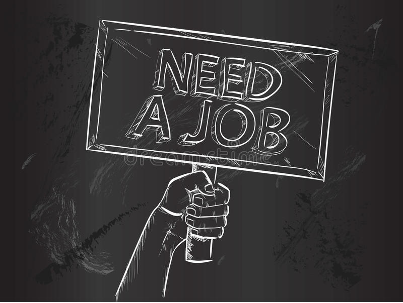Need Job Sketch on Blackboard. Vector Art stock illustration