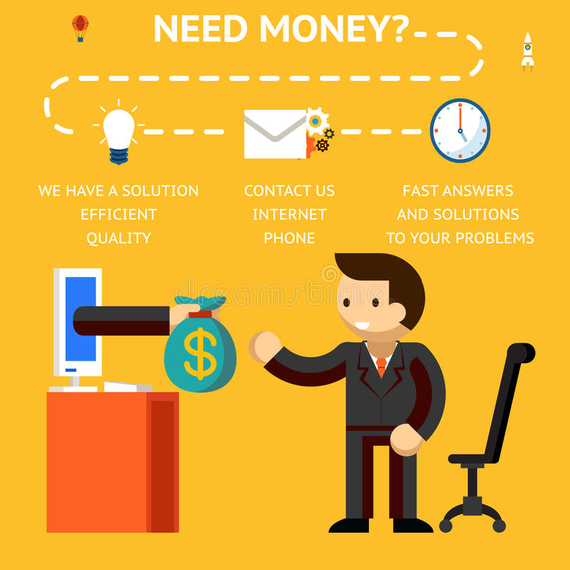 Need money concept. Hand giving money, credits and loans on internet stock illustration