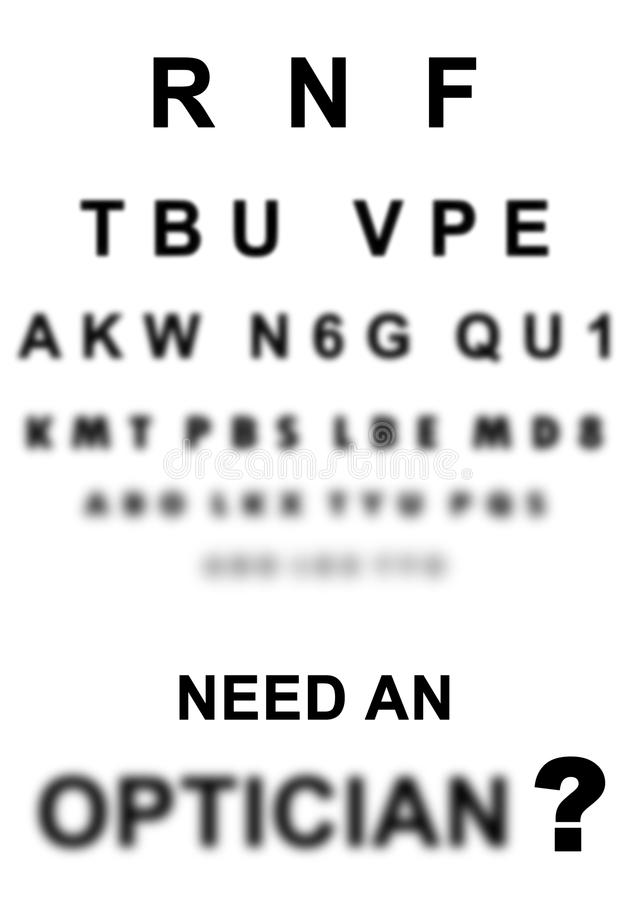 Eye exam chart. Blurred eye exam chart. Need an optician sign at doctor isolated optical royalty free illustration