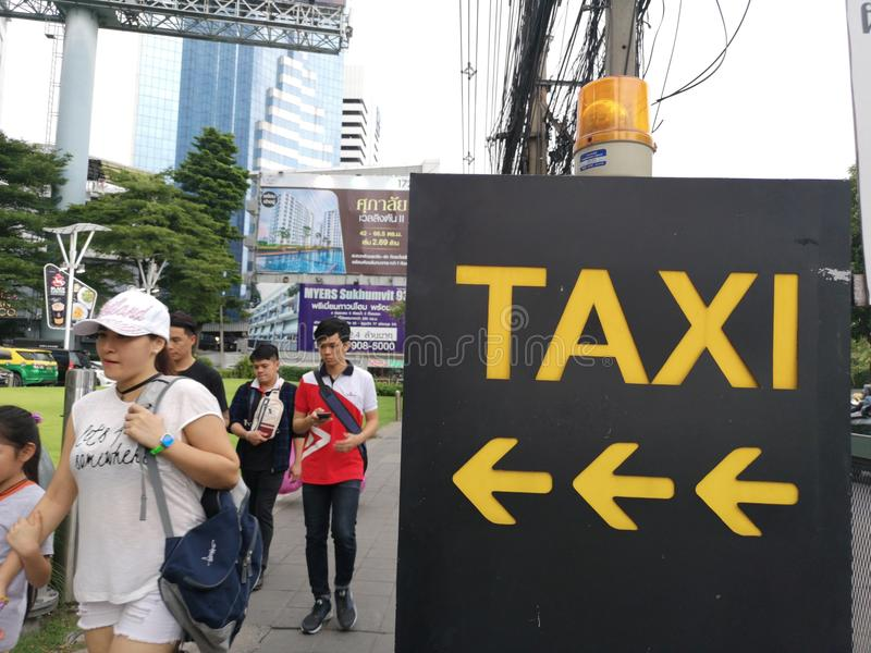 Need taxi label for taxi driver to pickup the tourist royalty free stock photography
