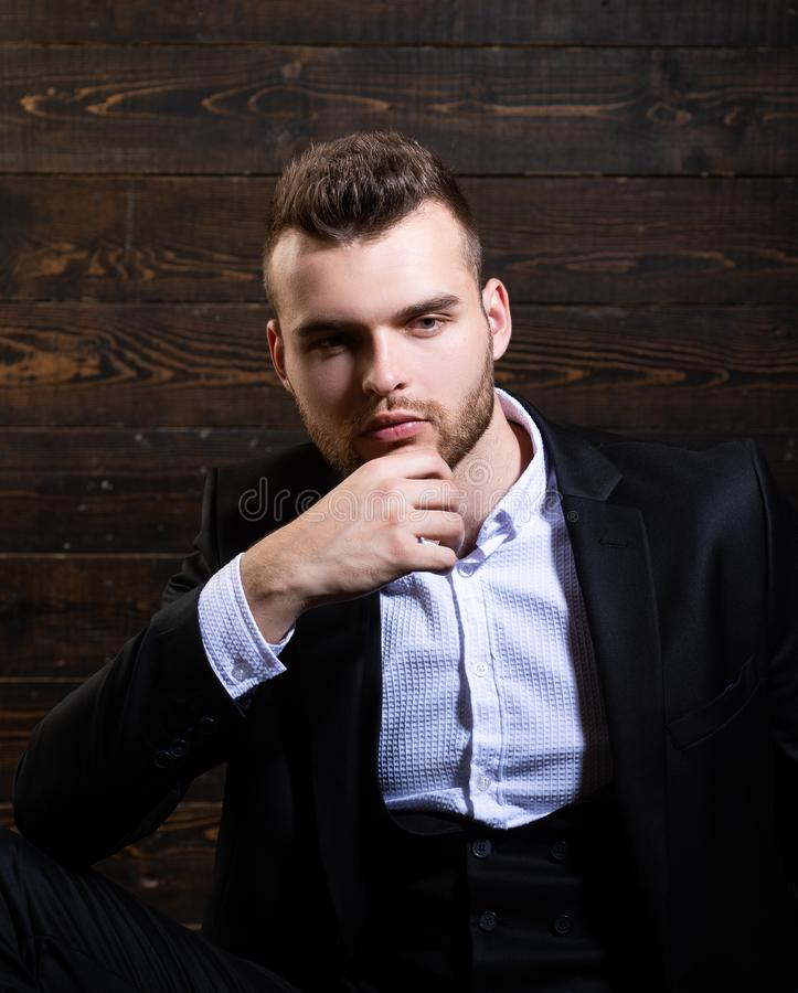 Need to deal with this problem. Man in classic suit shirt. Business confident. Portrait of handsome serious male model royalty free stock photo