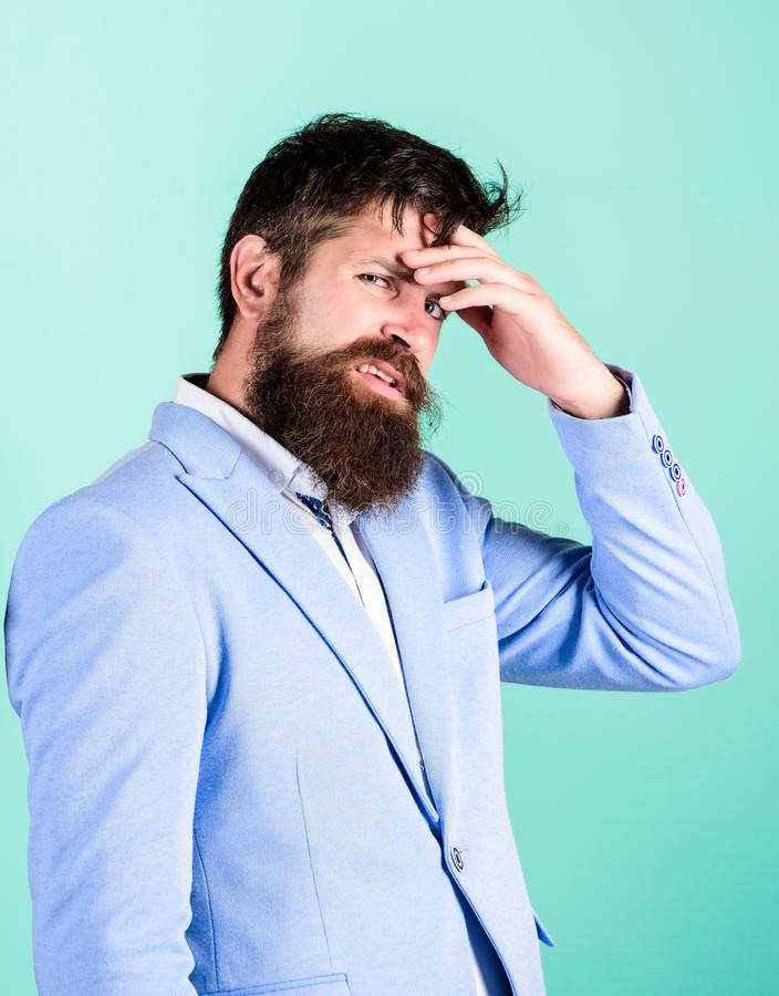Need to think. Man disgusted doubtful face thinking. Have some doubts. Hipster bearded face not sure in something royalty free stock photo