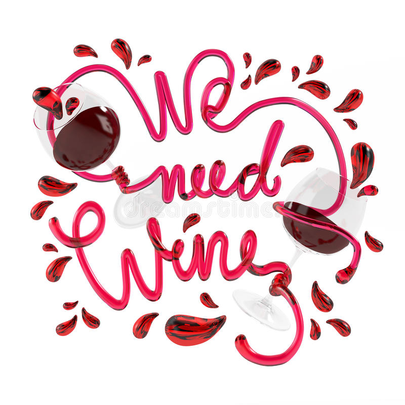 We need wine with crystal font 3D rendering stock image