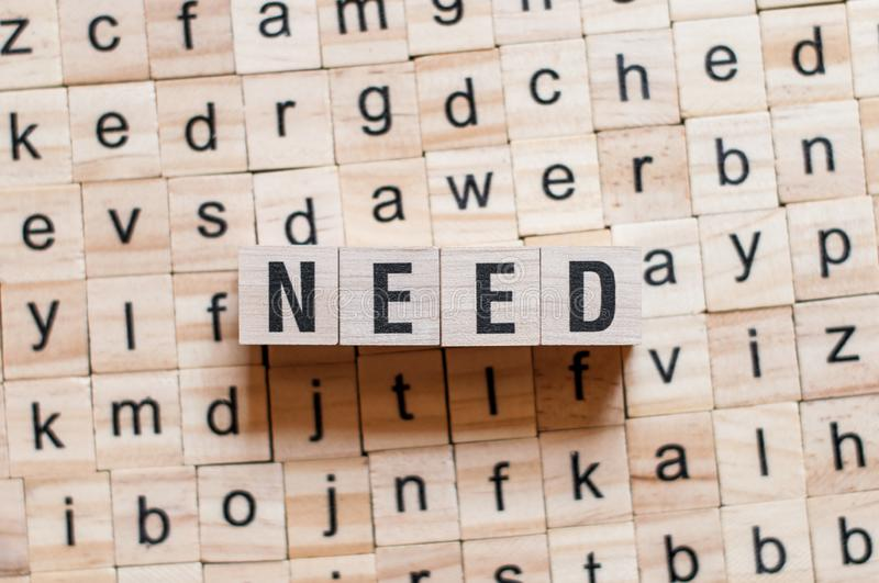 Need word concept royalty free stock photo