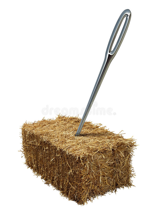 Needle In A Haystack. Business or lifestyle concept with a giant sewing metal in a bale of hay as an icon of business guidance and easily finding what you are vector illustration